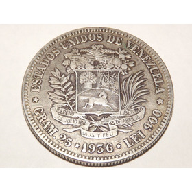 Moneda De Plata. Fuerte 5 Bs Bolívares. Fecha Año 1936