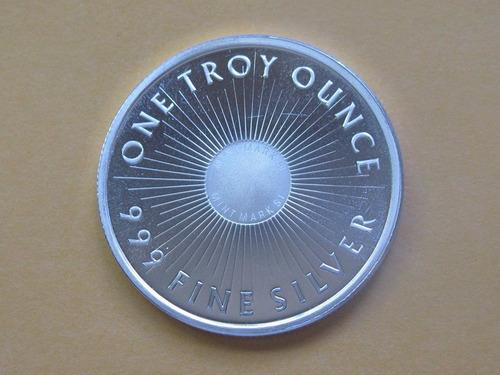 moneda de plata  pura de 1 oz troy ley 999 sunshine mint