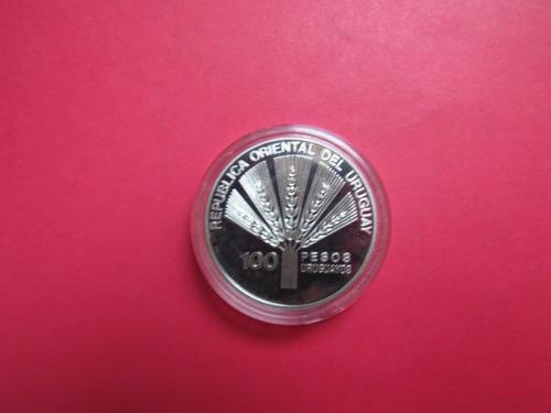 moneda  de plata uruguay 100 pesos 1995 conmemorativa