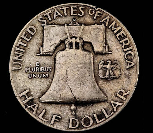 moneda de plata usa - medio dolar - 1948d franklin - #y1937