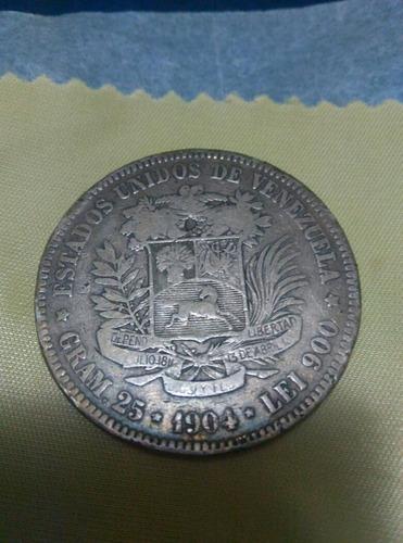 moneda de plata venezuela año 1904