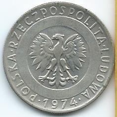 moneda  de  polonia  20  zlotych  1974  para  llevar  ya