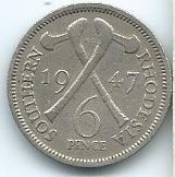 moneda de rhodesia 6  pence 1947 económica y muy buena