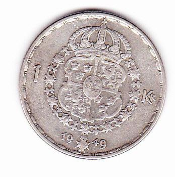 moneda de suecia 1949 plata