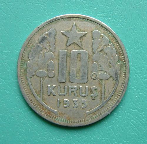 moneda de turquia 10 kurus año 1935