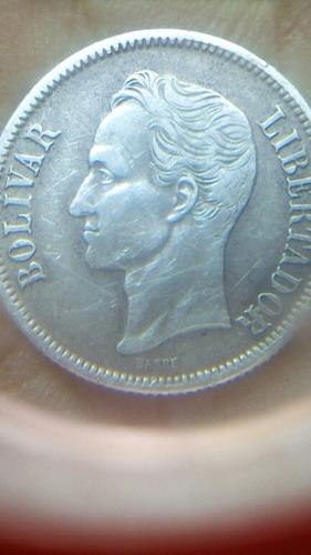 moneda de un  bolivar de plata