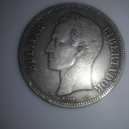 moneda de un fuerte de plata de 5 bolivares de 1905