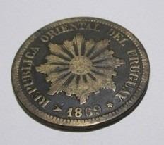 moneda de uruguay - 2 centésimos - año 1869 - #km12