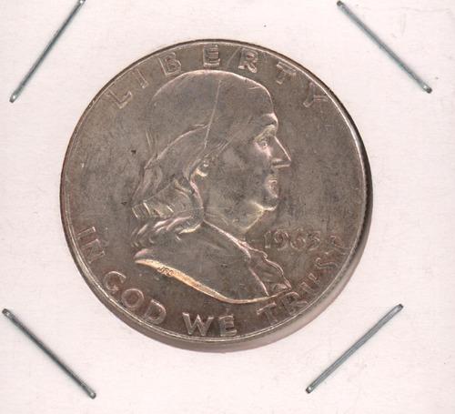 moneda de usa de medio dólar de 1963 benjamín franklin anver