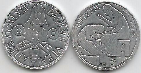 moneda del vaticano 5 liras  año 1975