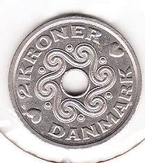 moneda dinamarka danmark 2 kroner año 1994