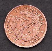 moneda economia es riquesa dos y medio centavos 1908