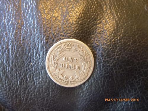 moneda  e.e.u.u. 10 cents 1914  plata 0.900 (958z