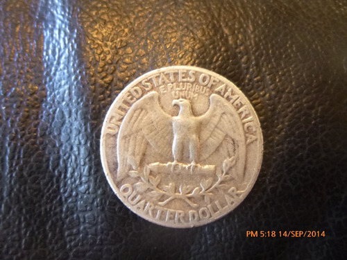 moneda  e.e.u.u. 25 cents 1957  plata 0.900 (974z