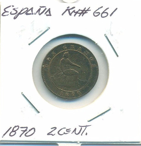 moneda españa 2 cents 1870 km#661 buen estado