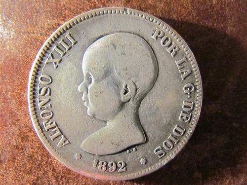moneda españa 5 pesetas 1892 pgm plata 900 gran tamaño 3,8c