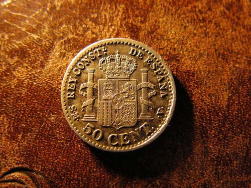 moneda españa 50 centavos peseta pg. m. 1892 alfonso xiii