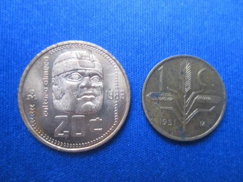 moneda espiga y olmeca 20 centavos nueva