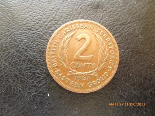 moneda estados del caribe colonia inglesa 2 cents 1961 (207z