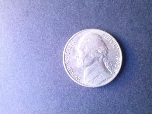 moneda estados unidos five cents niquel 1990 ceca d