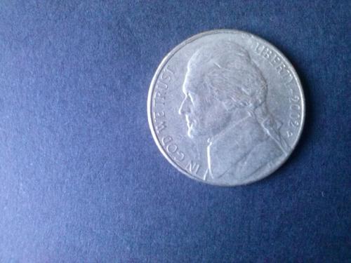 moneda estados unidos five cents niquel 2002 ceca d