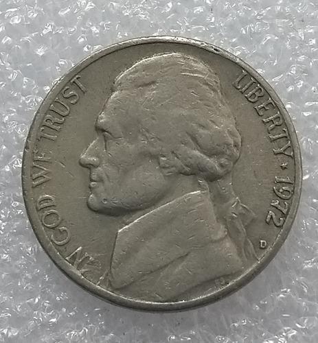 moneda estados unidos jefferson 5 centavos 1972 d