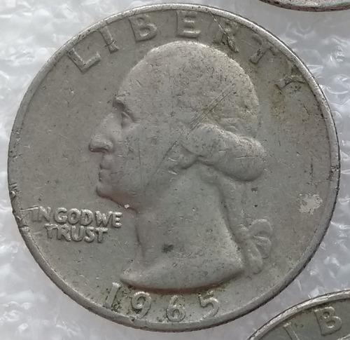 moneda estados unidos quarter dollar 1965