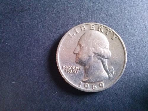 moneda estados unidos quarter dollar niquel 1969