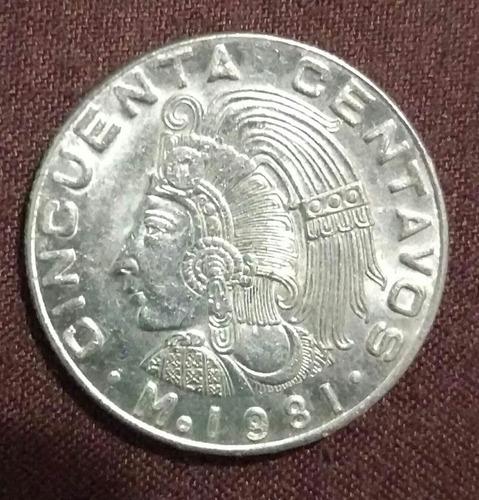 moneda excelentes condiciones 50 centavos mexicanos año 1981