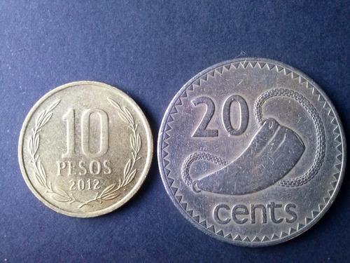 moneda fiji 20 cents 1969 niquel