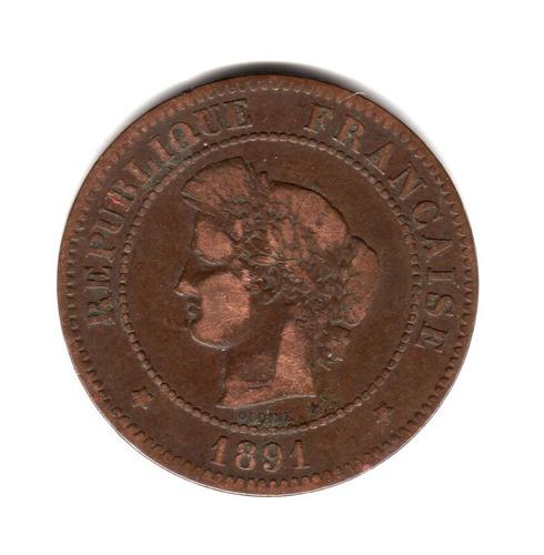 moneda francia 5 centimes año 1891 a km#821.1 oudine