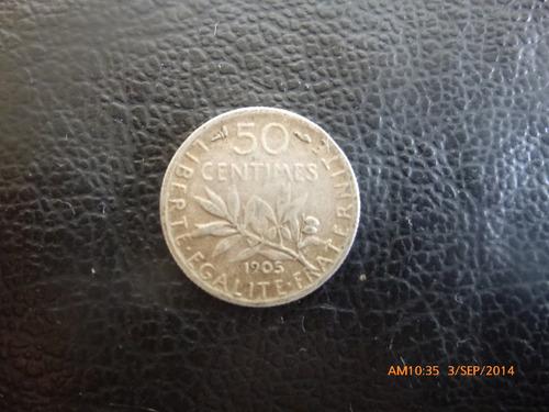 moneda francia 50 centimes  1905  plata 0-835 (1048z