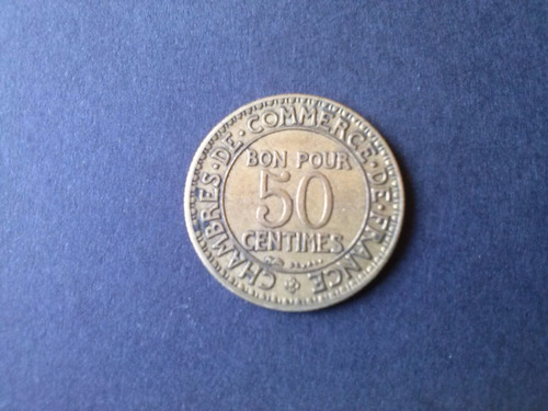 moneda francia 50 centimes 1921 bronce