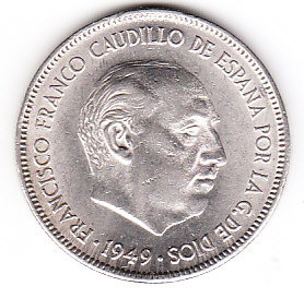 moneda franco caudillo de españa 1949  5 pesetas