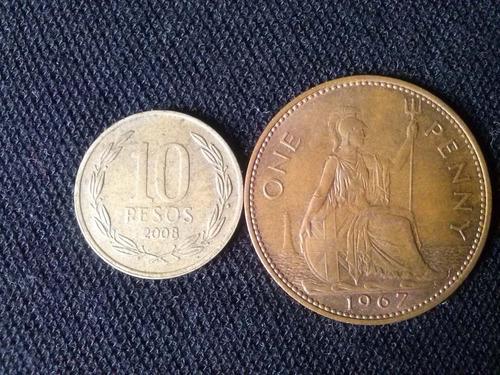 moneda gran bretaña 1 penny cobre 1967 muy buen estado
