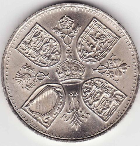 moneda gran bretaña 5 shillings - crown de 1953, nueva