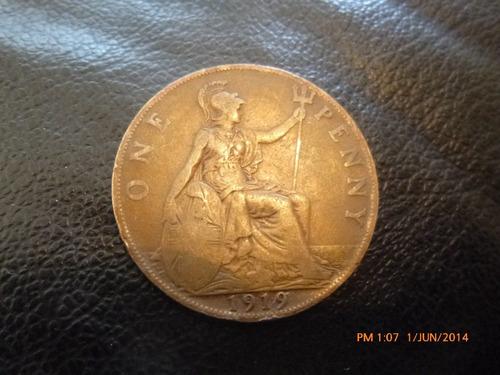 moneda gran bretaña one penny 1919 (27z