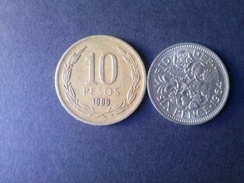 moneda gran bretaña six pence 1964 níquel (c11)