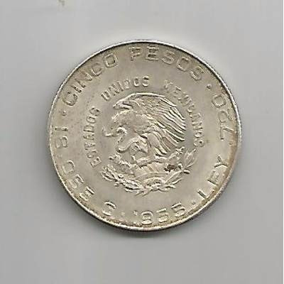 moneda hidalgo de 5 pesos chica plata ley 0.720