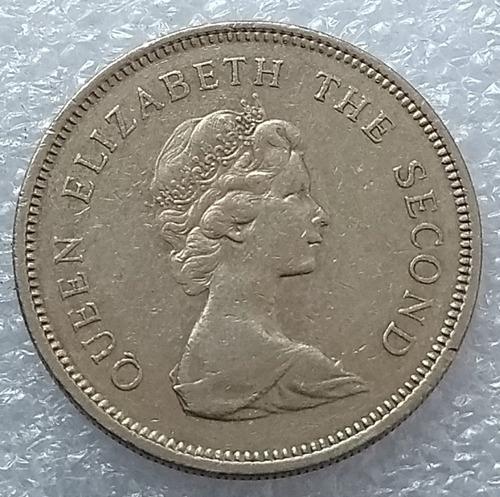 moneda hong kong 1980 one dollar reina elizabeth ii