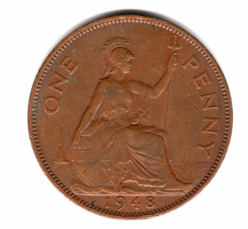 moneda inglaterra gran bretaña 1 penny 1948 km#845 cobre