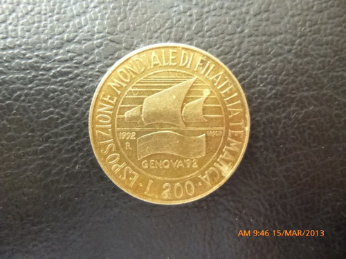 moneda italia     200 liras 1992    filatelica (71z
