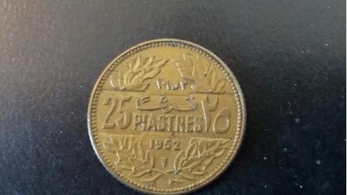 moneda líbano 25 piastres 1952 (744z