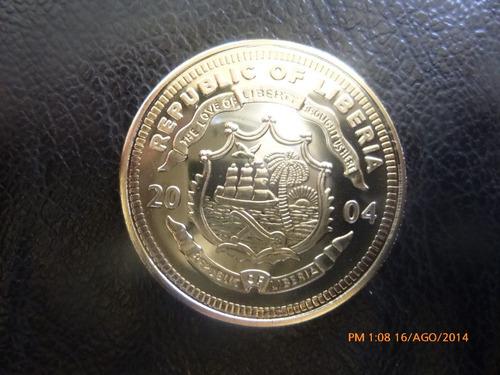 moneda liberia 10 dollares 2004  george bush preste(374z