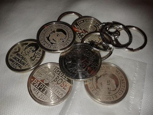 moneda llavero personalizado grabado en moneda de $50 de 80s