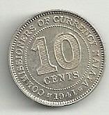 moneda malaya 10 cents (1941) rey y emperador jorge 6to.