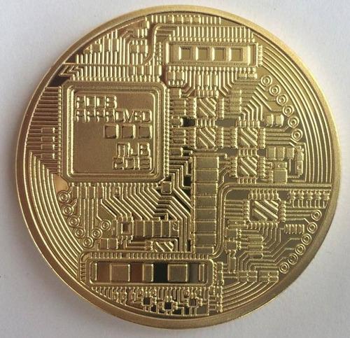 moneda medalla souvenir alusiva a bitcoin banada en oro btc