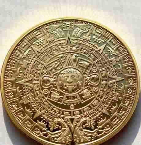 moneda mexicana bañada en oro calendario maya coleccionistas