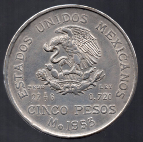 moneda mexicana   plata cinco pesos  1953  hidalgo  p20