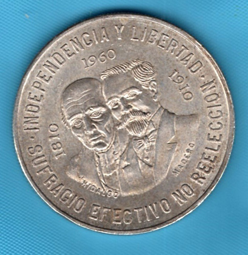 moneda mexicana plata  hidalgo juárez   diez  pesos p137,38